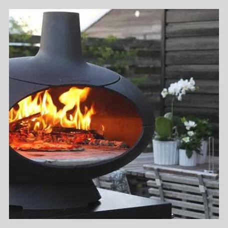 chauffage exterieur cheminée design